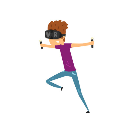 Young man cartoon character using virtual reality headset and controllers, gaming cyber technology. Vectores