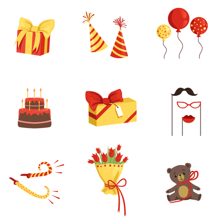 Cartoon set of birthday party elements. Gift boxes, cone hats, glossy balloons, cake with candles, noisemakers, bouquet of tulips, plush bear, mustache, glasses and lips on sticks. Flat vector icons.