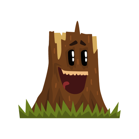 Cute laughing tree stump character with funny face vector Illustration isolated on a white background.