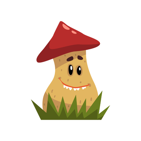 Cute funny boletus mushroom character with red cap and funny face vector Illustration isolated on a white background.