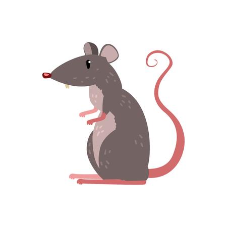 白い背景に隔離されたかわいい面白いマウスの文字ベクトルイラスト。  イラスト・ベクター素材