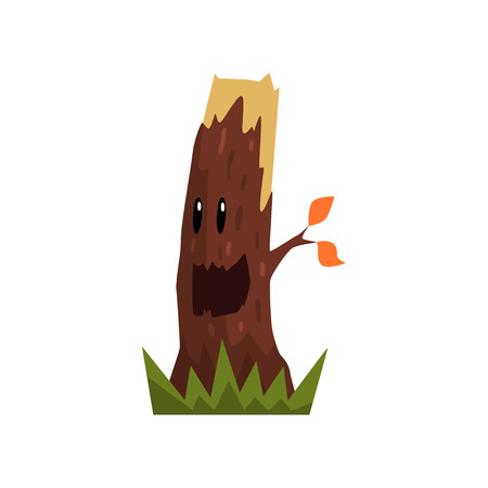 Cute happy tree stump character with funny face vector Illustration isolated on a white background.