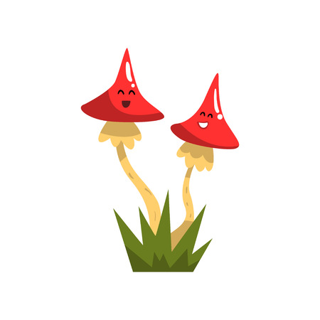 Cute funny toadstool mushroom characters with funny faces vector Illustration isolated on a white background.