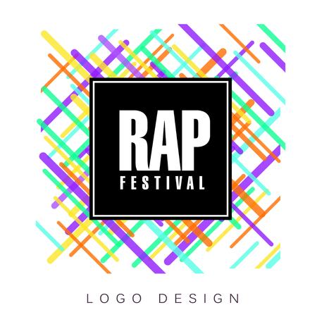 Rap festival logo, colorful creative banner, poster, flyer design element for musical party celebration vector Illustration, web design Illusztráció