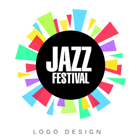 Jazz festival logo template, colorful creative banner, poster, flyer design element for musical party celebration vector Illustration, web design 矢量图像