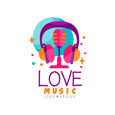 Creative emblem with headphones and retro microphone. Colorful logo design for music radio station, record studio or mobile application. Hand drawn vector illustration isolated on white background.