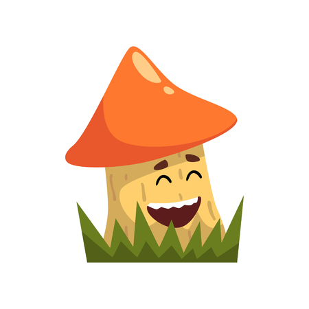 Cute funny boletus mushroom character with funny face vector Illustration on a white background  イラスト・ベクター素材