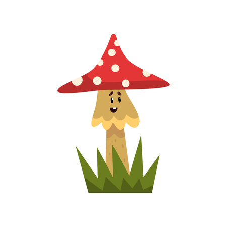 Cute poisonous fly agaric mushroom character with funny face vector Illustration on a white background