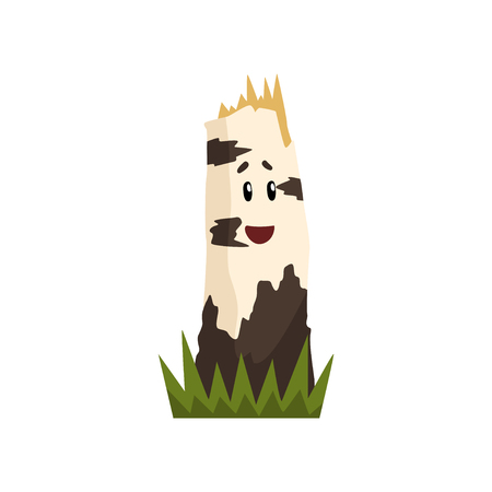 Funny birch tree stump character with funny face vector Illustration on a white background