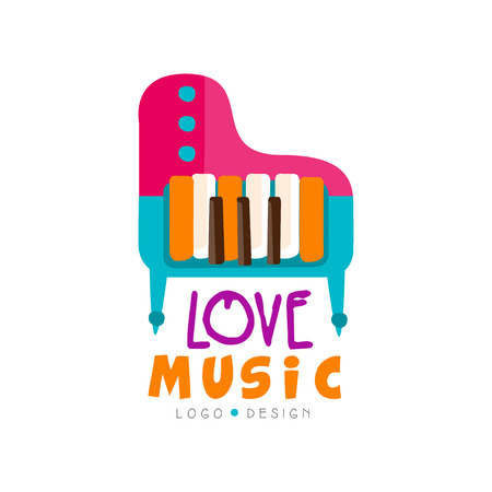 Music logo with colorful grand piano. Large keyboard musical instrument. Original graphic design for shop emblem, promo poster or flyer. Hand drawn vector illustration isolated on white background. Illustration