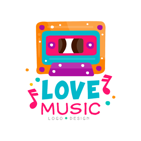 Original logo template with bright-colored cassette and notes. Graphic design for music store emblem, dance school promo poster or night club. Abstract vector illustration isolated on white background Ilustrace