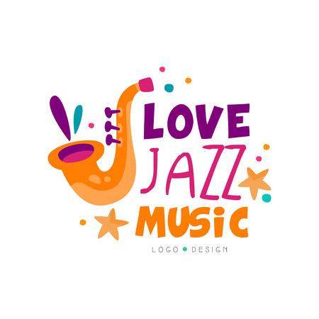 Abstract music logo with saxophone for jazz live concert. Musical instrument. Creative graphic design for invitation card, promo poster or banner. Colorful vector emblem isolated on white background.