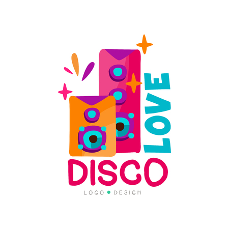 Bright logo with subwoofers. Love disco music. Audio speakers. Vector emblem for record studio, night club, dance school or t-shirt print