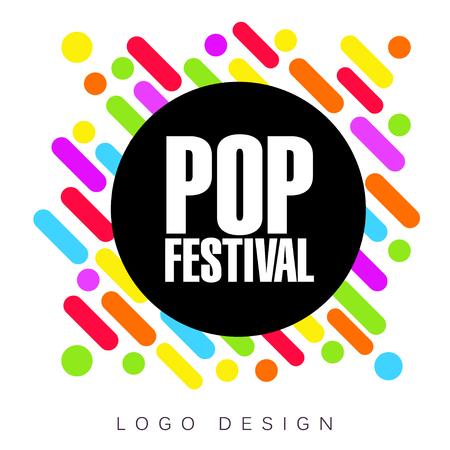 Pop festival logo template, creative banner, poster, flyer design element for musical party celebration vector Illustration Ilustracja