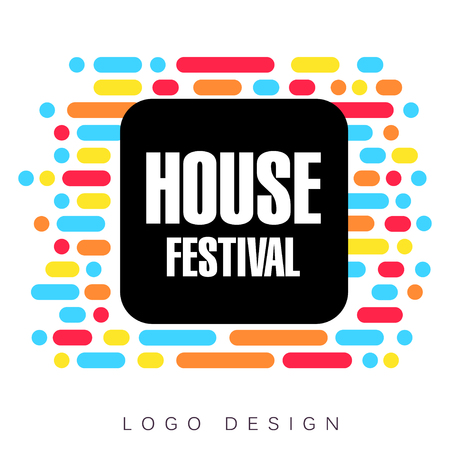 House festival logo template, creative banner, poster, flyer design element for musical party celebration vector Illustration 일러스트
