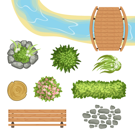 Colorful set of landscape elements. Wooden bridge and bench, tree stump, small river, various green bushes and flowers, piece of stone path. Top view. Flat vector icons isolated on white background.