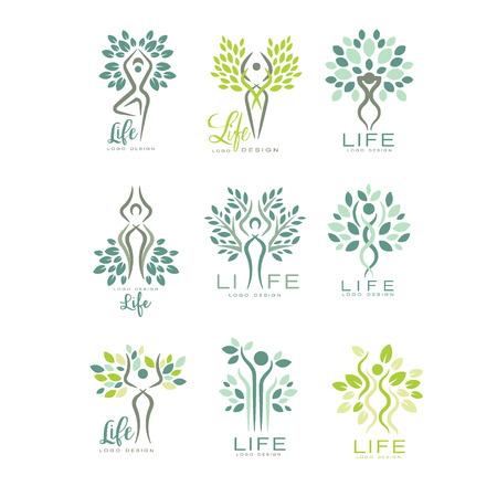 Plantillas de logotipo de vida saludable para centro de bienestar, salón de spa o estudio de yoga. Armonía con la naturaleza. Creativos emblemas verdes con siluetas humanas abstractas y hojas. Iconos de vector plano aislados en blanco.