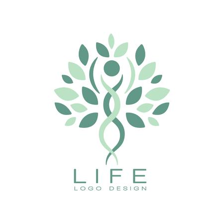 Abstraktes Lebenlogodesign mit Grünblättern und menschlichem Schattenbild. Thema gesunder Lebensstil. Kreatives Emblem für medizinische Versorgung oder Wellness-Center. Flache Vektorillustration lokalisiert auf weißem Hintergrund. Logo