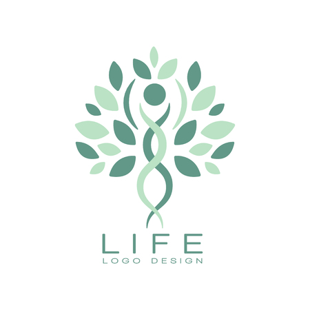 Abstract life logo design with green leaves and human silhouette. Healthy lifestyle theme. Creative emblem for medical care or wellness center. Flat vector illustration isolated on white background.