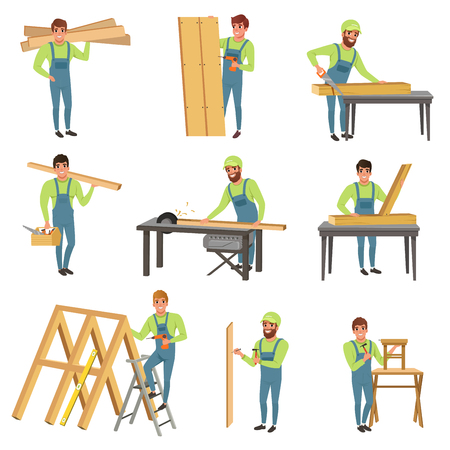 Cartoon set of carpenter characters at work. People with tools for sawing and carpentry. Young men in blue overalls working with wood. Colorful flat vector illustration isolated on white background.
