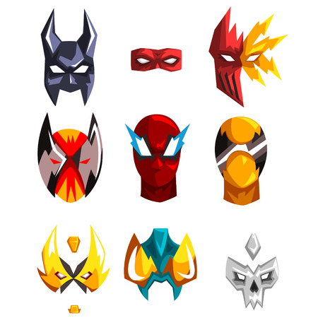 Colorful masks collection of different superheroes. Clothing attribute for costumed party. Faces of heroes. Design for photo props or mobile app. Cartoon flat vector icons isolated on white background Çizim
