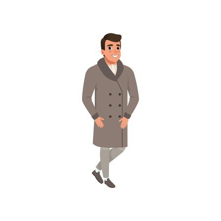 Cheerful elegant young man in fashion clothes vector Illustration on a white background Foto de archivo - 99217051