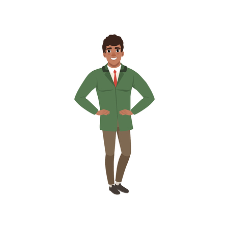 Handsome elegant young man in a green jacket vector Illustration on a white background