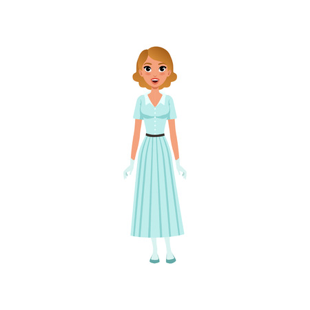 Beautiful young woman in elegant retro light blue dress and white gloves vector Illustration on a white background Stock Illustratie