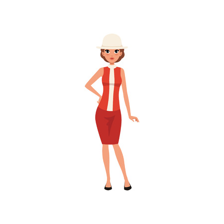 Beautiful young woman in red dress and white hat, girl in vintage fashion outfit vector Illustration isolated on a white background. Stock Illustratie