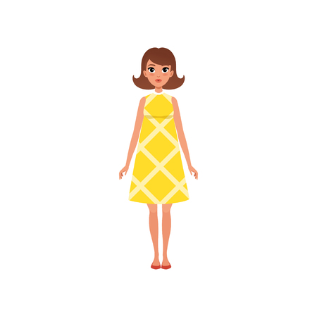 Beautiful young woma nwith dark hair in yellow dress vector Illustrations isolated on a white background.
