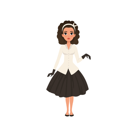 Beautiful brunette young woman in black skirt, white jacket and gloves, girl in fashion outfit vector Illustration isolated on a white background.