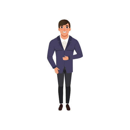 Handsome young man in fashion clothes vector Illustration isolated on a white background.