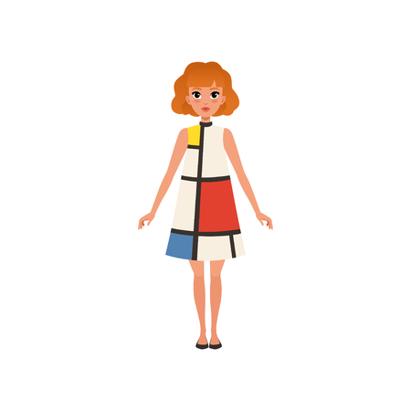 Beautiful redhead young woman in fashion dress vector Illustration on a white background
