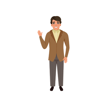 Handsome young man in retro style suit vector Illustration on a white background