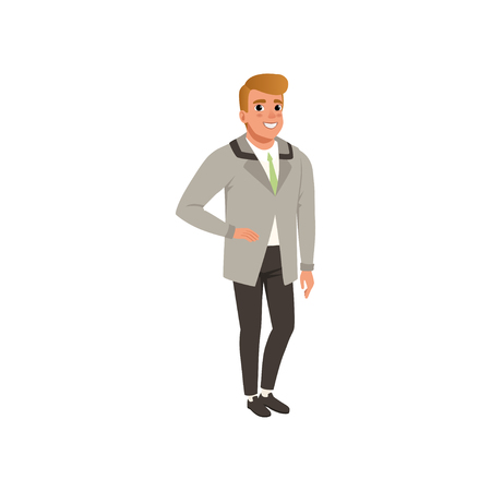 Cheerful young man in fashion elegant clothes vector Illustration on a white background Illustration