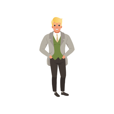 Handsome young man in fashion elegant clothes vector Illustration on a white background