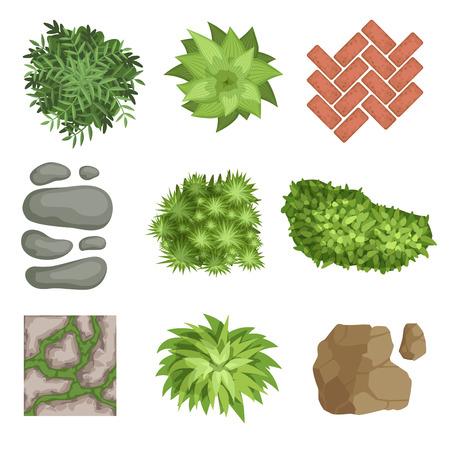 Flat vector set of landscape elements. Stock Illustratie