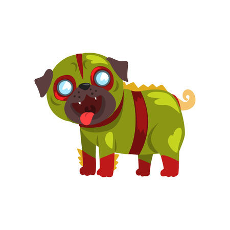 Funny pug dog character dressed in green military suit vector Illustration on a white background