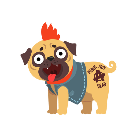 Funny pug dog character in a punk rocker costume vector Illustration on a white background Illustration