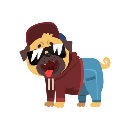 Funny pug dog character dressed as hiphop dancer vector Illustration on a white background