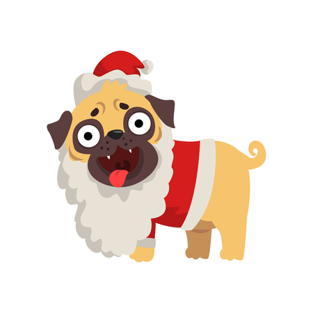 Funny pug dog character dressed as Santa Claus vector Illustration on a white background