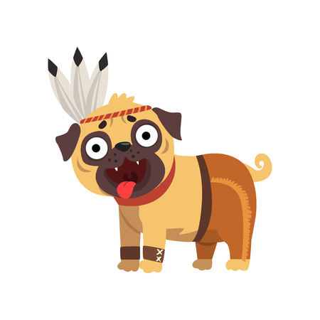 Funny pug dog character in American Indian costume vector Illustration on a white background Illustration