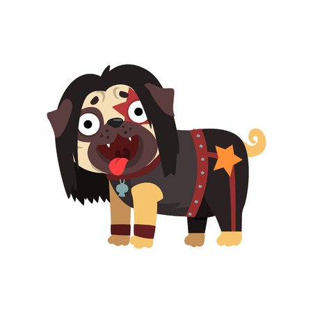 Funny pug dog character dressed as rocker vector Illustration on a white background