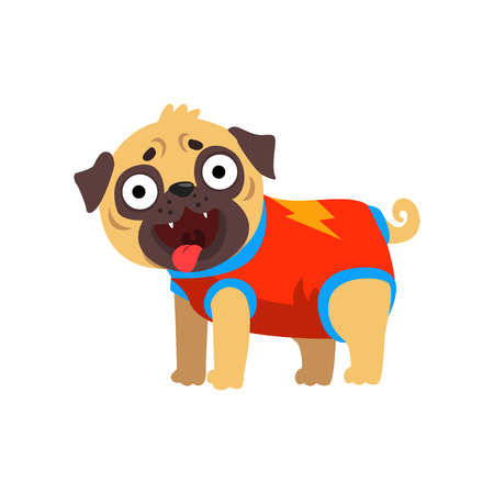 Funny pug dog character dressed as superhero vector Illustration on a white background