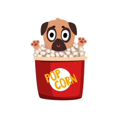Cute funny pug dog character inside a basket of popcorn vector Illustration isolated on a white background Standard-Bild - 99629629