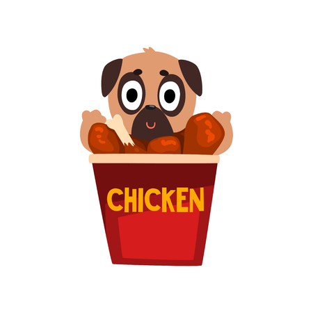 Cute pug dog inside a basket of fried chicken wings, funny dog character inside fast food product vector Illustration on a white background
