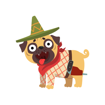 Funny pug dog character wearing Mexican sombrero hat and red poncho vector Illustration on a white background Illustration