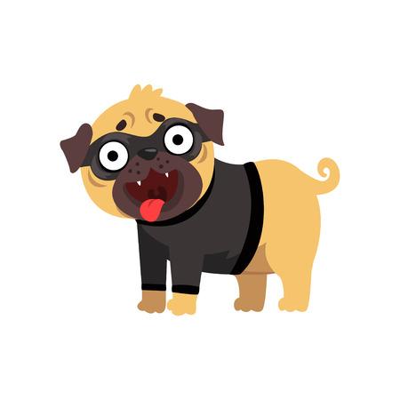 Funny pug dog character dressed as robber, funny dog in black mask vector Illustration on a white background Illustration