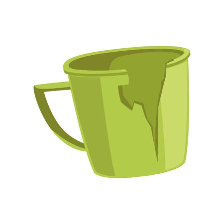 壊れた緑のカップ、リサイクルゴミのコンセプト、白い背景に廃棄物ベクトルイラストを利用