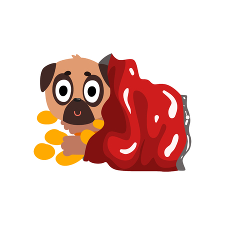 Cute pug dog sitting in a package with chips, funny dog character inside fast food product vector Illustration isolated on a white background